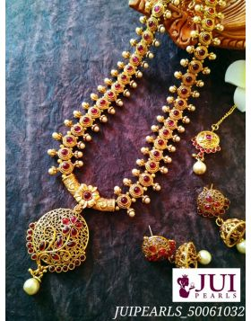 An exquisite temple jewellery with a matching princess necklace.